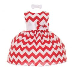 Baby Girls Red Chevron Stripe Headband Special Occasion dress 3-24M