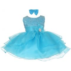 Baby Girls Turquoise Rhinestuds Bow Sash Flower Girl Headband dress 3-24M