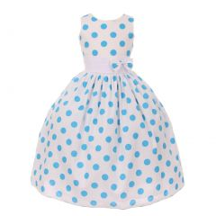 Little Girls White Turquoise Polka Dots Poly Cotton Spring Easter Dress 2-6