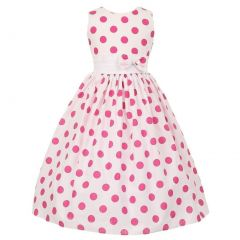 Big Girls White Fuchsia Polka Dots Poly Cotton Spring Easter Dress 10