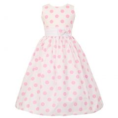 Little Girls White Pink Polka Dots Poly Cotton Spring Easter Dress 2-6