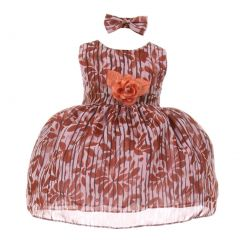 Baby Girls Coral Stripe Floral Print Chiffon Stylish Flower Girl Dress 3-24M
