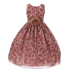 Big Girls Coral Stripe Floral Print Chiffon Sleevless Stylish Flower Girl Dress 8-10