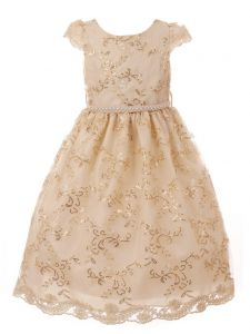 Little Girls Champagne Embroidered Tulle Bejeweled Waist Easter Dress 2-6