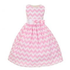 Shanil Inc Big Girls Pink Chevron Stripe Bow Special Occasion Dress 8-10