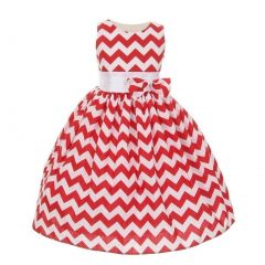 Shanil Inc Little Girls Red Chevron Stripe Bow Special Occasion Dress 2T-6
