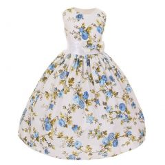 Shanil Inc Little Girls Turquoise Floral Print Bow Special Occasion Dress 2T-6