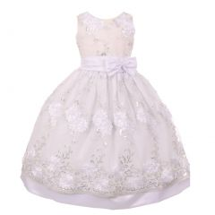 Big Girls White Floral Sequin Bow Adorned Junior Bridesmaid Dress 8-10