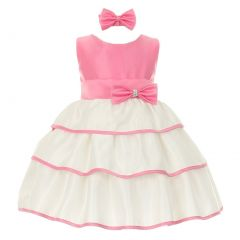 Baby Girls Bubble Gum Pink Bow Sash Easter Special Occasion dress 3-24M