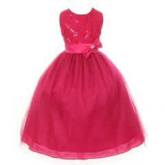 Big Girls Fuchsia Organza Sequin Sparkle Tulle Special Occasion Dress 8-16