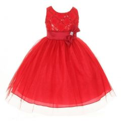 Big Girls Red Organza Sequin Sparkle Tulle Special Occasion Dress 8-16
