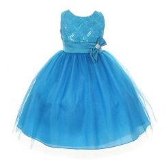 Big Girls Turquoise Organza Sequin Sparkle Tulle Special Occasion Dress 8-16