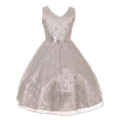 Big Girls Silver Lace Overlay Satin Brooch Sash Junior Bridesmaid Dress 8-18