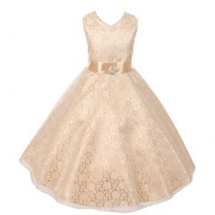 Big Girls Champagne Lace Overlay Satin Brooch Sash Special Occasion Dress 8-14