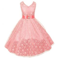 Big Girls Coral Lace Overlay Satin Brooch Sash Special Occasion Dress 8-14