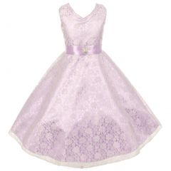 Little Girls Lavender Lace Overlay Satin Brooch Sash Special Occasion Dress 4-6