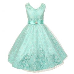 Little Girls Mint Lace Overlay Satin Brooch Sash Special Occasion Dress 4-6