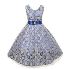 Big Girls Royal Blue Lace Overlay Satin Brooch Sash Special Occasion Dress 8-14
