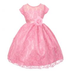 Big Girls Dark Pink Lace Overlay Illusion Neckline Junior Bridesmaid Dress 8-18