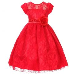 Little Girls Red Flower Sash Lace Overlay Special Occasion Dress 2-6