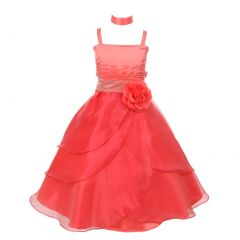 Little Girls Coral Floral Accent Cascade Overlaid Flower Girl Dress 4-6