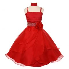 Little Girls Red Accent Cascade Overlaid Studded Waist Flower Girl Dress 4-6