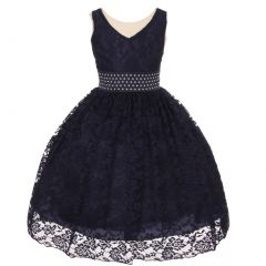 Big Girls Navy Heavy Spandex Lace Pearl Accented Flower Girl Dress 8-18