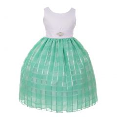 Big Girls Mint Square Pattern Brooch Accented Junior Bridesmaid Dress 8-18