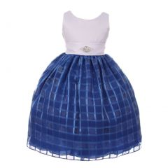 Big Girls Royal Blue Square Pattern Brooch Accent Junior Bridesmaid Dress 8-18