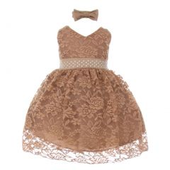 Little Girls Mocha Rose Lace Overlay Beaded Sleeveless Occasion Dress 2-4T