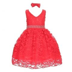 Little Girls Red Rose Floral Lace Overlay Beaded Waist Occasion Dress 2-4T