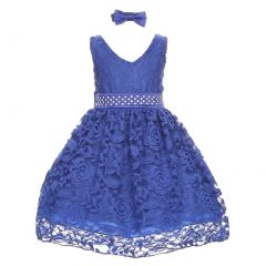 Baby Girls Royal Blue Rose Lace Overlay Beaded Waist Occasion Dress 3-24M