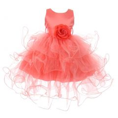 Baby Girls Coral Floral Adorned Cascade Ruffle Stylish Flower Girl Dress 6-24M