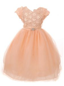 Little Girls Peach Floral Appliques Short Sleeve Tulle Easter Dress 2-6