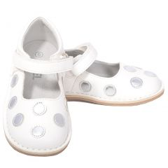 L'Amour White Silver Dot Mary Jane Dress Shoe Baby Toddler Girl 4-10
