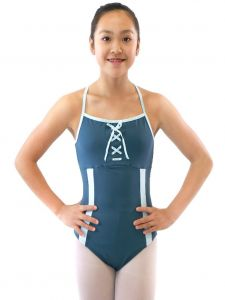 Veva by Very Vary Big Girls Blue Gray Silver Mist Dance Leotard 10-12