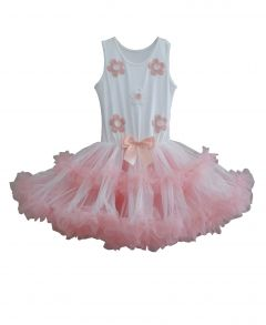 Popatu Big Girls White Peach Sleeveless Two Ruffle Tutu Birthday Dress 6X-7