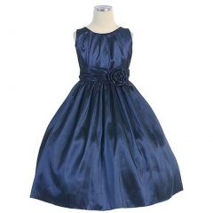 Sweet Kids Solid Navy Pleated Christmas Dress Little Girls Size 6M-12