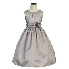 Sweet Kids Baby Toddler Little Girls Silver Pleated Easter dress 6M-12