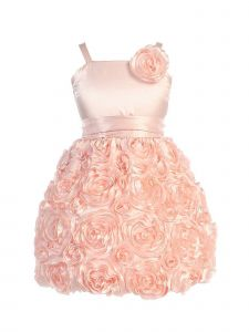Sweet Kids Girls Peach 3D Floral Soutache Stylish Flower Girl Dress 2-10