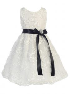 Sweet Kids Big Girls Off-White Black Lace Embroidered Flower Girl Dress 7-8
