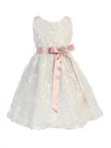 Sweet Kids Big Girls Off-White Blush Lace Embroidered Flower Girl Dress 7-8