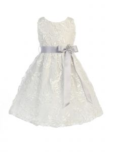 Sweet Kids Big Girls Off-White Silver Lace Embroidered Flower Girl Dress 7-8