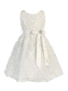 Sweet Kids Big Girls Off-White White Lace Embroidered Flower Girl Dress 7-8