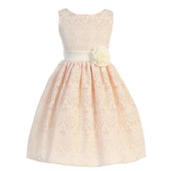 Sweet Kids Little Girls Peach Vintage Lace Overlay Flower Girl Dress 2T-6