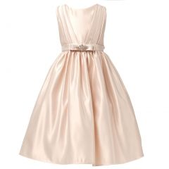 Sweet Kids Little Girls Champagne Satin Rhinestone Pin Flower Girl Dress 2T-6