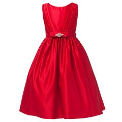 Sweet Kids Little Girls Red Satin Rhinestone Pin Flower Girl Dress 2T-6