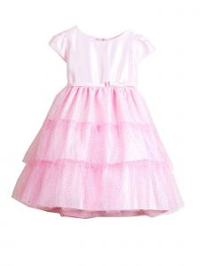 Sweet Kids Little Girls Pink Satin Glitter Mesh Tiered Flower Girl Dress 3-6