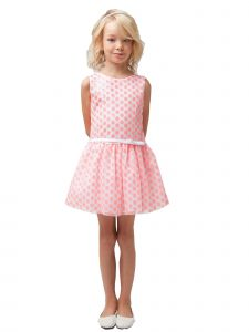 Sweet Kids Girls Coral Sequin Polka Dot Junior Bridesmaid Flower Girl Dress 2-12
