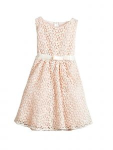 Sweet Kids Girls Peach Petite Floral Embroidered Mesh Flower Girl Dress 2-7